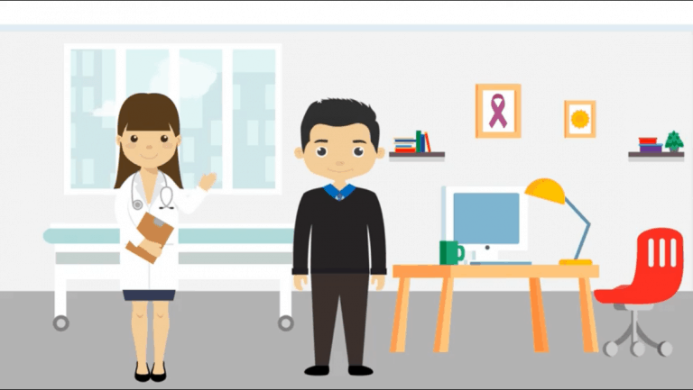 Cartoon picture of a doctor speaking to a patient